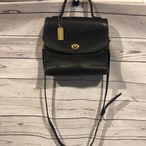 Vintage coach manor top handle crossbody bag black